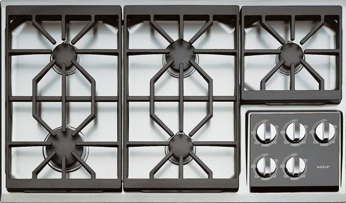 "Wolf CT36G/S - 36"" Gas Cooktop, Stainless Steel"