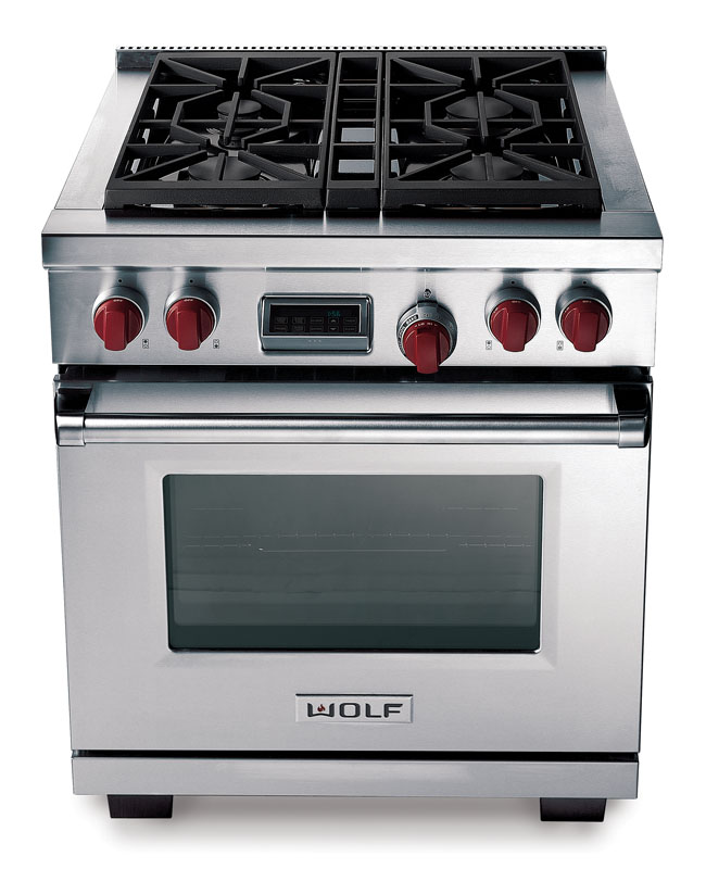 "Wolf DF304-LP - 30"" Stainless Steel, 4 burner, Liquid Propane Dual Fuel Range"