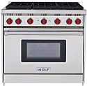 "Wolf GR366LP - 36"" Stainless Steel, 6 Burner Liquid Propane Range"